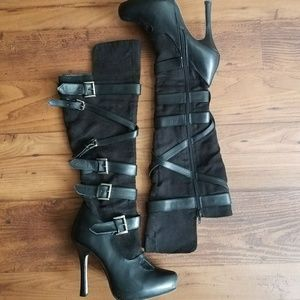 Leg Avenue High Heel Suede Strappy Boots Size 8
